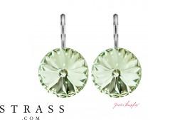 "Pierced Earrings ""Arrondi"" Chrysolite, with original Swarovski Crystals (14.00mm)"