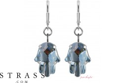 "Pierced Earrings ""Fatima"" Crystal Blue Shade, with original Swarovski Crystals"