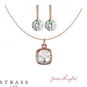 "Jewelry Set ""Roségold Rivoli"" Crystal, with original Swarovski Crystals"