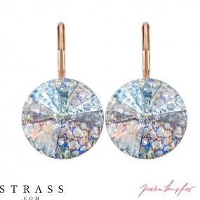 "Pierced Earrings ""Arrondi"" with original Swarovski Crystals (Crystal White Patina / 14,0 mm)"