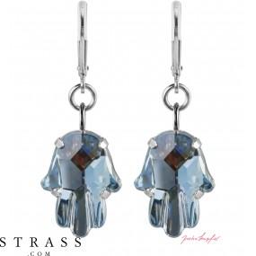 """Pierced Earrings """"Fatima"""" Crystal Blue Shade, with original Swarovski Crystals"""