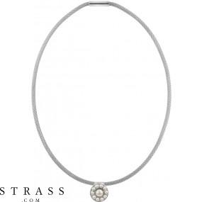 "Necklace ""Mesh"" White Pearl, with original Swarovski Crystals"