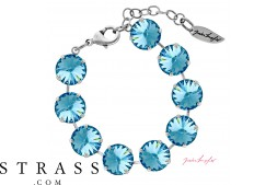 "Bracelet ""Rivoli"" Large Aquamarine, with original Swarovski Crystals"