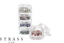 Storage set for rhinestones, beads and chatons | 5 times sorting jars 10.5cm x 3.9cm