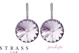 "Pierced Earrings ""Arrondi"" Smoky Mauve, with original Swarovski Crystals (14.00mm)"