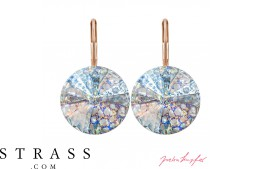 "Pierced Earrings ""Arrondi"" with original Swarovski Crystals (Crystal White Patina / 14,0 mm)"