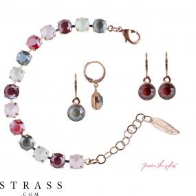 "Jewelry Set ""Rosi"" Royal Rose, with original Swarovski Crystals"