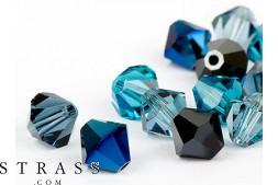 Glasperlen zum Auffädeln Swarovski Kristalle Doppelkegel 4mm (Jeans Mix) 96 Stück