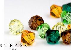 Glasperlen zum Auffädeln Swarovski Kristalle Doppelkegel 4mm (Forest Mix) 96 Stück