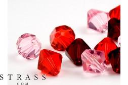 Glasperlen zum Auffädeln Swarovski Kristalle Doppelkegel 4mm (Love Mix) 96 Stück