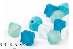 Glasperlen zum Auffädeln Swarovski Kristalle Doppelkegel 4mm (Pacific Mix) 96 Stück