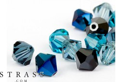 Perles de Verre a enfiler Cristaux de Swarovski double cône 4mm (Jeans Mix) 96 Pièces