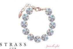 "Bracelet ""Rosi Rivoli"" Medium Crystal White Patina, avec Cristaux originaux de Swarovski"