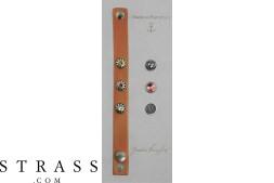"""Bracelet en cuir """"Button Bracelet Set"""" Tequila Sunrise, avec Cristaux originaux de Swarovski"""