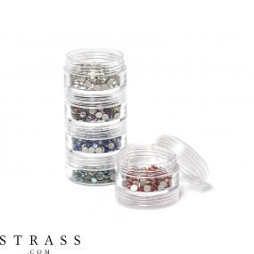 Ensemble de rangement pour strass, perles et chatons | 5 bocaux de tri fold 10.5cm x 3.9cm