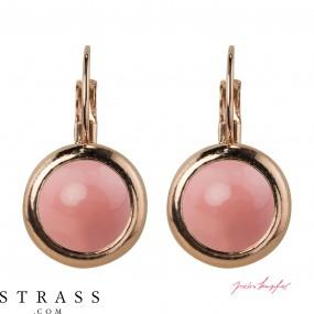 """Boucles d'Oreilles """"Rosi"""" Pink Coral Pearl, avec Cristaux originaux de Swarovski"""