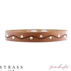 "Bracelet en cuir ""Talli"" nature, avec Cristaux originaux de Swarovski"