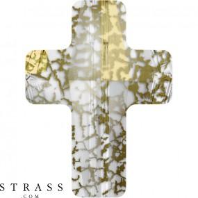 Cristaux de Swarovski 5378 Crystal (001) Gold Patina (GOLPA)