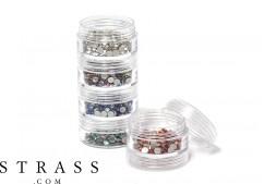 Conjunto de almacenamiento de pedrería, perlas y chatons | 5 tarros de clasificación de plegado 10.5cm x 3.9cm
